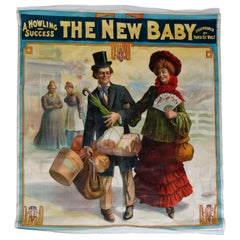"""Monumental Wall-Size Original Theatre Stage Poster on Canvas """"The New Baby"""" 1907"""