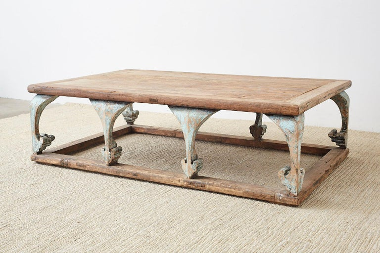 Monumental Weathered Pine Coffee Cocktail Table For Sale 7