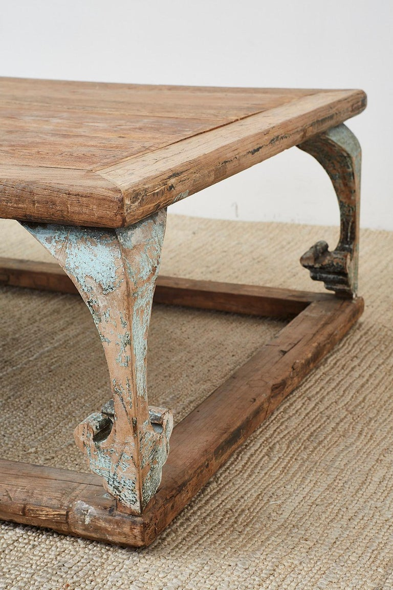 Monumental Weathered Pine Coffee Cocktail Table For Sale 8