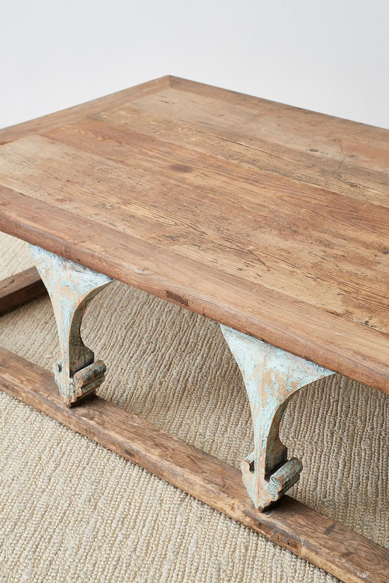 Monumental Weathered Pine Coffee Cocktail Table For Sale 10
