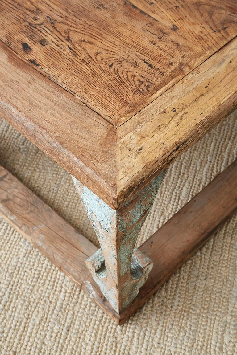 Monumental Weathered Pine Coffee Cocktail Table For Sale 12