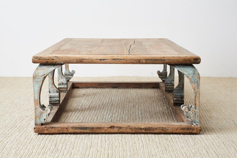 Monumental Weathered Pine Coffee Cocktail Table For Sale 13