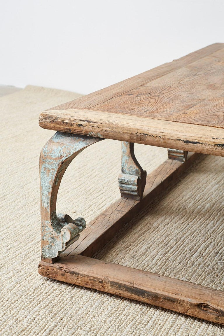 Monumental Weathered Pine Coffee Cocktail Table For Sale 14