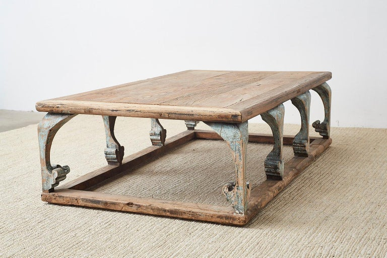 Monumental Weathered Pine Coffee Cocktail Table For Sale 15