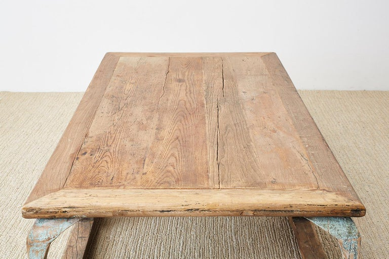 Monumental Weathered Pine Coffee Cocktail Table For Sale 16