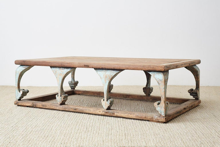Monumental Weathered Pine Coffee Cocktail Table In Distressed Condition For Sale In Oakland, CA