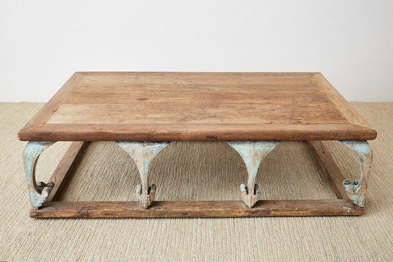 Monumental Weathered Pine Coffee Cocktail Table For Sale 1