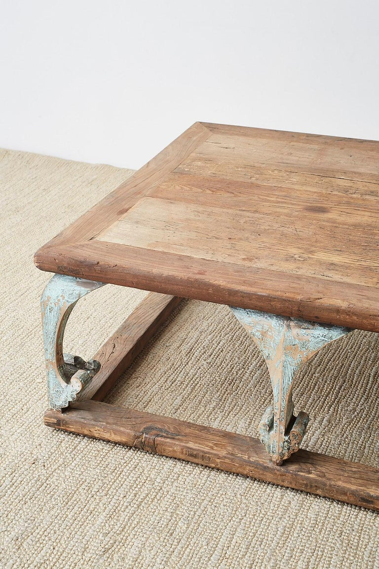 Monumental Weathered Pine Coffee Cocktail Table For Sale 2
