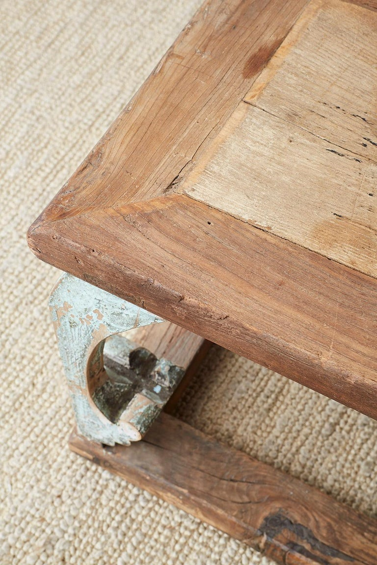 Monumental Weathered Pine Coffee Cocktail Table For Sale 4