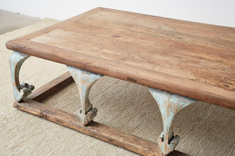 Monumental Weathered Pine Coffee Cocktail Table For Sale 5