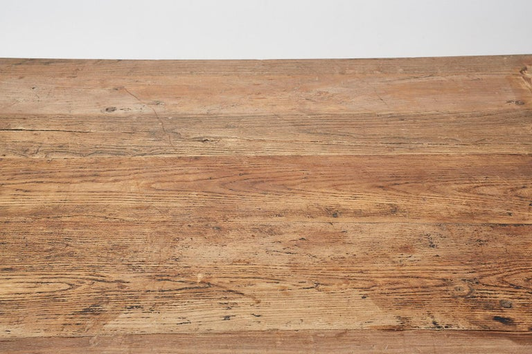 Monumental Weathered Pine Coffee Cocktail Table For Sale 6