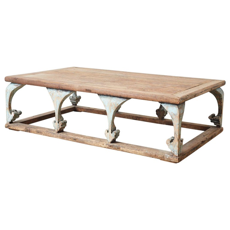 Monumental Weathered Pine Coffee Cocktail Table For Sale