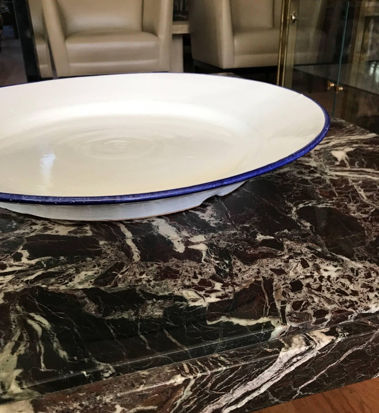 Large White Ceramic Italian Faience Charger Platter For Sale 1