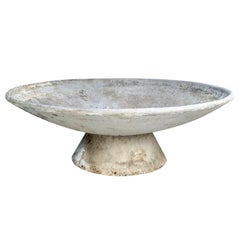 """Monumental Willy Guhl 59"""" Adjustable Two-Piece Concrete Bowl Planters"""