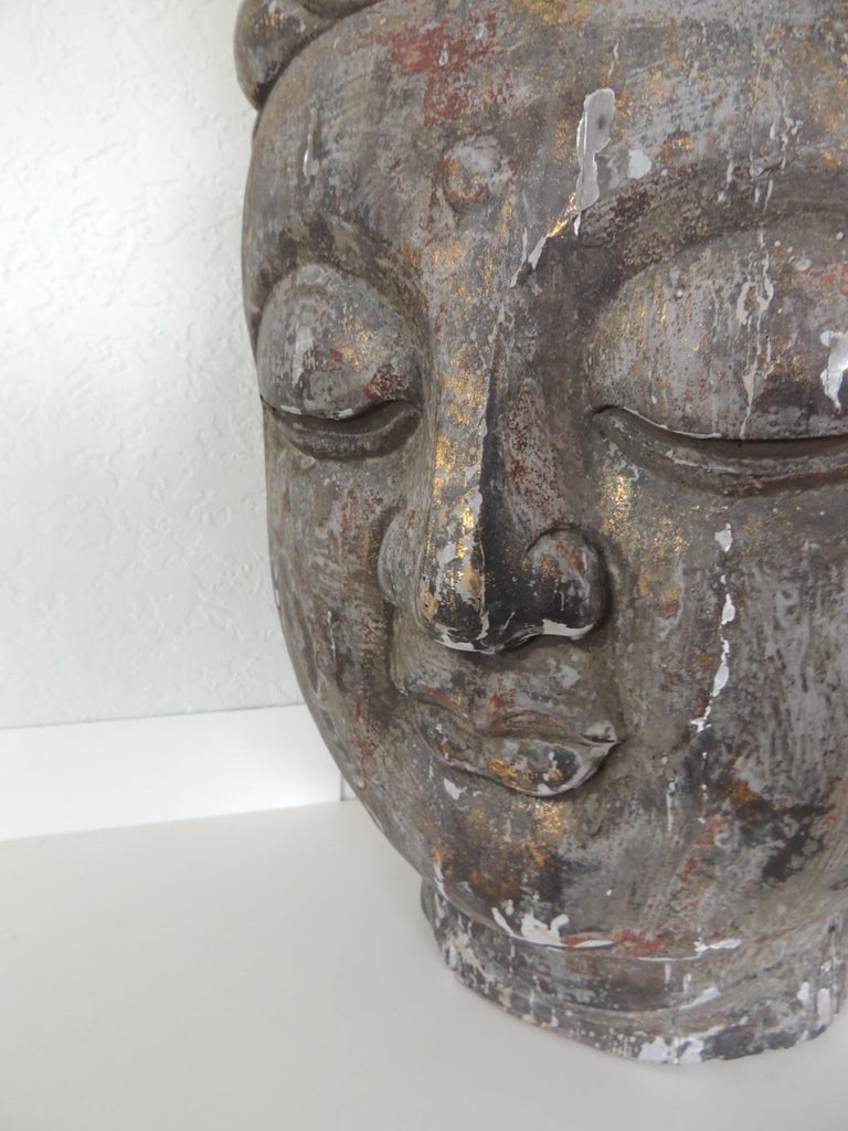 Monumental Wood Buddha Head Statue from Thailand For Sale 4