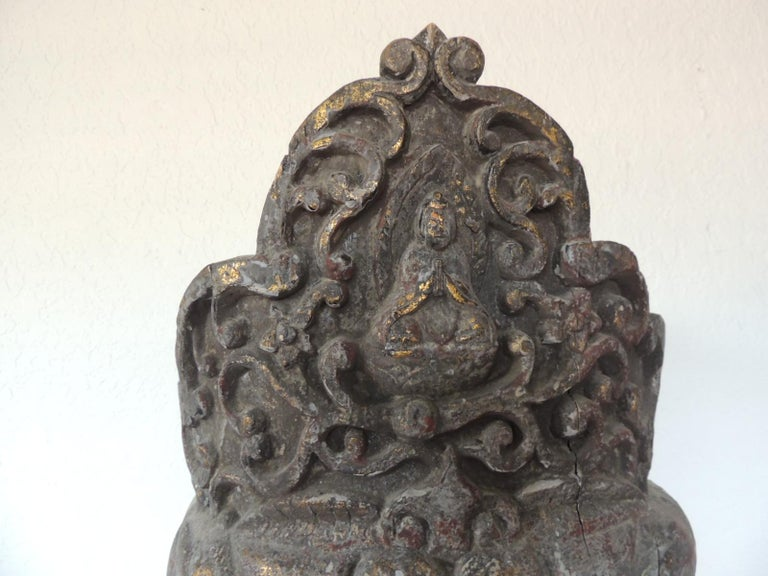 Moorish Monumental Wood Buddha Head Statue from Thailand For Sale