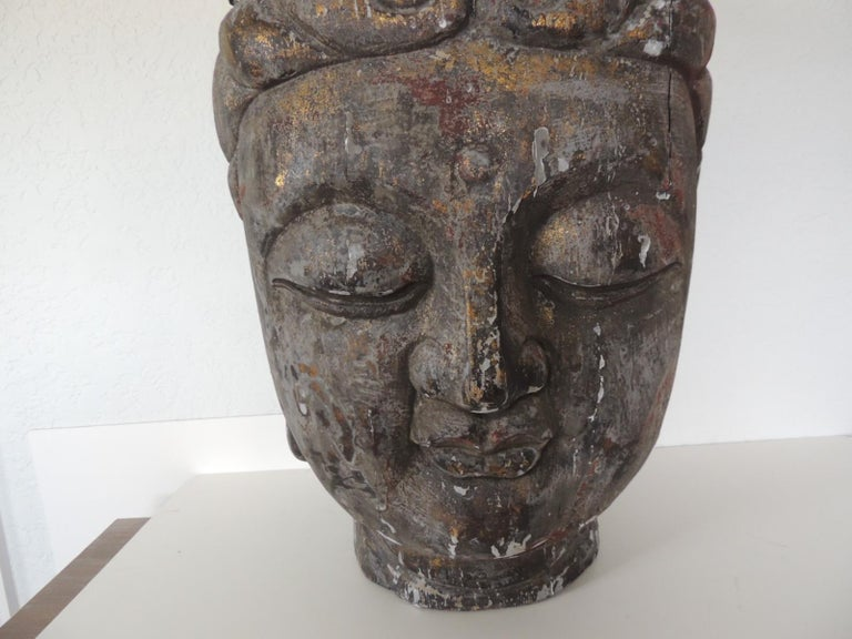 Hand-Carved Monumental Wood Buddha Head Statue from Thailand For Sale