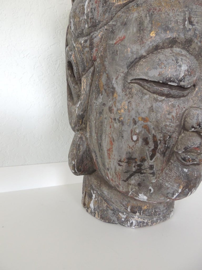 Monumental Wood Buddha Head Statue from Thailand In Fair Condition For Sale In Wilton Manors, FL