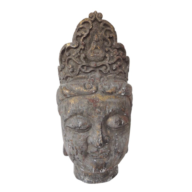 Monumental Wood Buddha Head Statue from Thailand For Sale