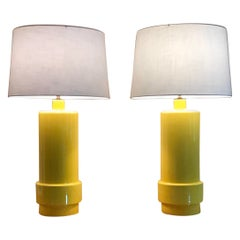 Monumental Mid-Century Yellow Ceramic Lamps, a Pair
