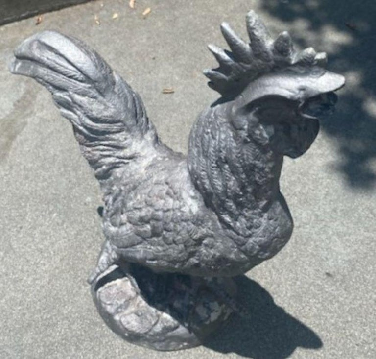 Molded Monumental Zinc Rooster from a Garden For Sale