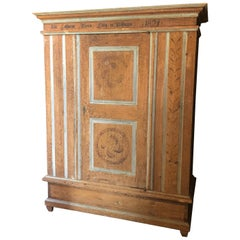 Monumentally Large Faux Painted Swedish Armoire Wardrobe