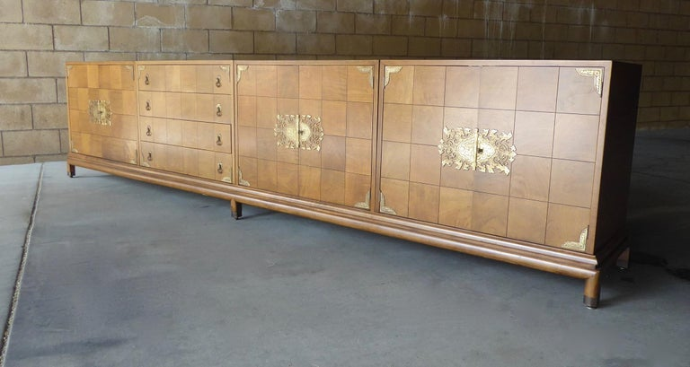 Mid-Century Modern Monumentally Scaled Midcentury Credenza Designed by Renzo Rutili, circa 1960 For Sale