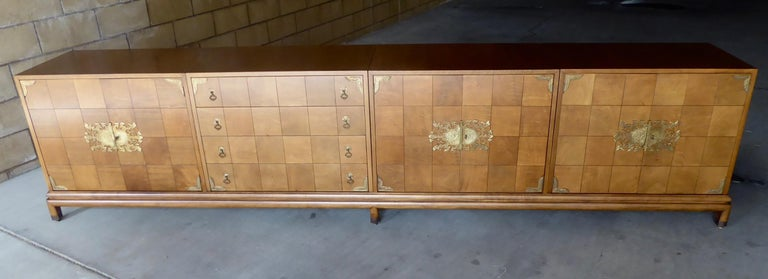 American Monumentally Scaled Midcentury Credenza Designed by Renzo Rutili, circa 1960 For Sale