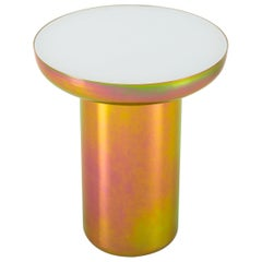 Mood Side Zinc Contemporary Side Table in Steel and Glass by Dean Norton