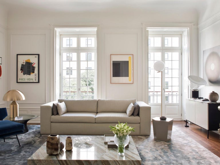 Portuguese Moody Blues Rug in Silk from Fortuny Collection by Cristina Jorge de Carvalho For Sale
