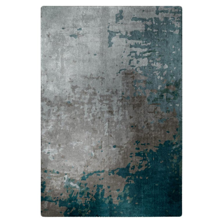 Moody Blues Rug in Silk from Fortuny Collection by Cristina Jorge de Carvalho For Sale