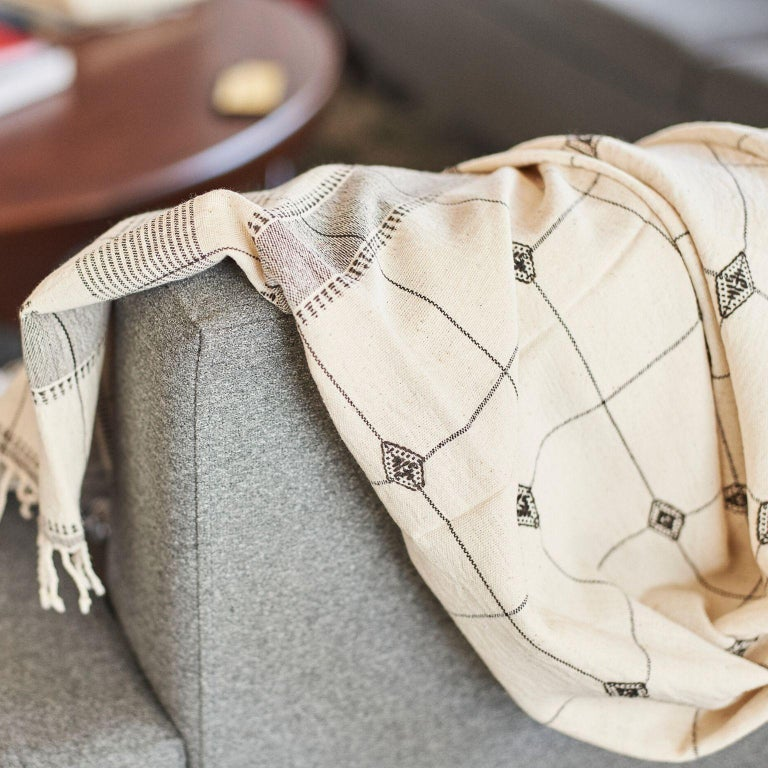 Modern Mool Handloom Throw / Blanket , Black & White,  In Organic Cotton  For Sale