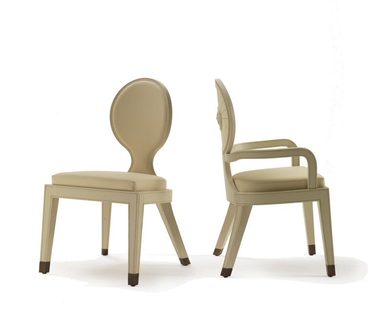 Modern Moon and Sun Dining Armchair in Shiny Mahogany Finish For Sale
