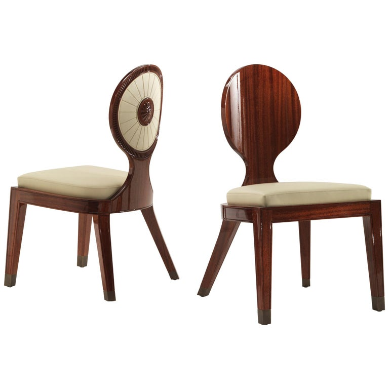 Moon and Sun Dining Armchair in Shiny Mahogany Finish For Sale