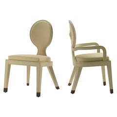 Moon and Sun Dining Armchair in White Oak Finish