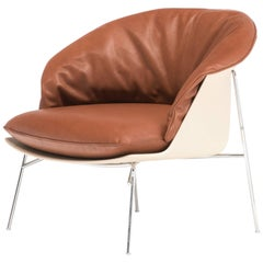 Moon Armchair in Beige with Brown Leather Cushion by Ludovica & Roberto Palomba