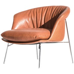 Moon Armchair in Brown Leather Cushion by Ludovica & Roberto Palomba for Driade
