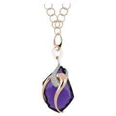 18 Kt Rose and White Gold Moon Big Chain Necklace with Amethyst and Diamonds