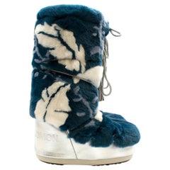 Moon Boot x Yves Salomon Blue Rabbit Fur Boots 39-41