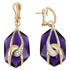 18kt Rose and White Gold Moon Chain Earrings with Amethyst and Diamonds