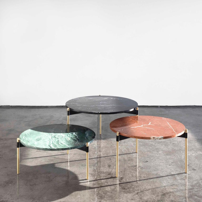 Argentine MOON Contemporary Round Coffee Table in Marble and Solid Bronze by Ries For Sale