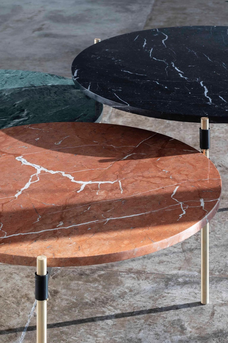 MOON Contemporary Round Coffee Table in Marble and Solid Bronze by Ries In New Condition For Sale In Buenos Aires, CABA