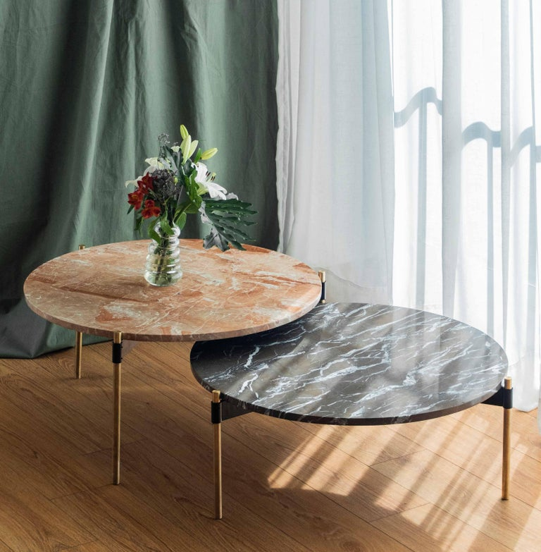 MOON Contemporary Round Coffee Table in Marble and Solid Bronze by Ries For Sale 3