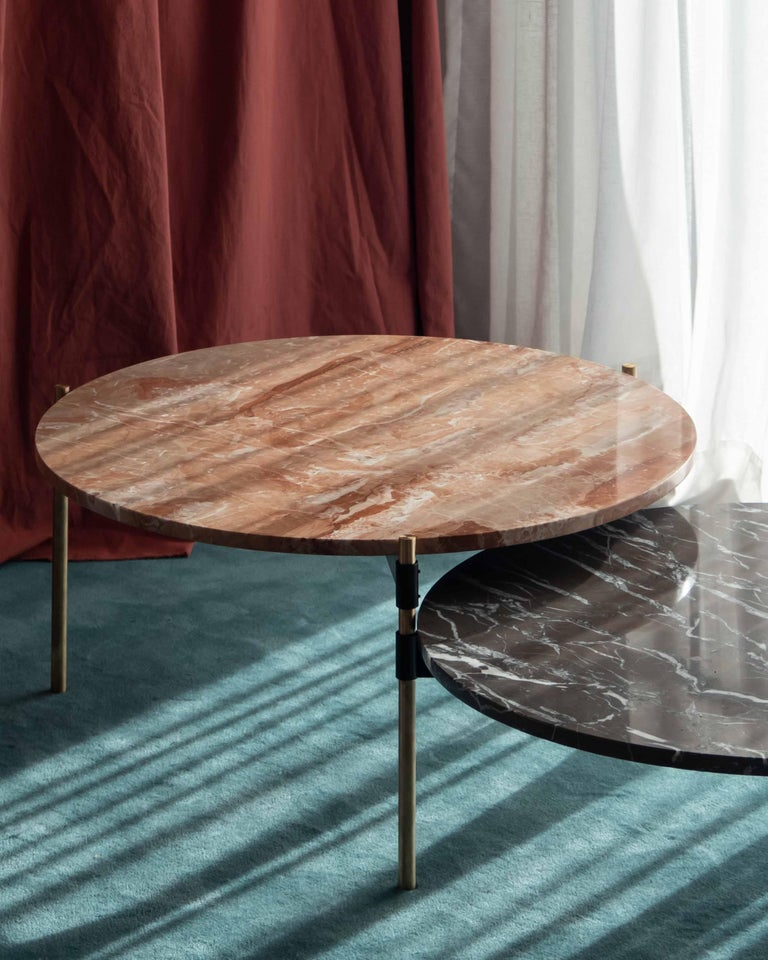 MOON Contemporary Round Coffee Table in Marble and Solid Bronze by Ries For Sale 4