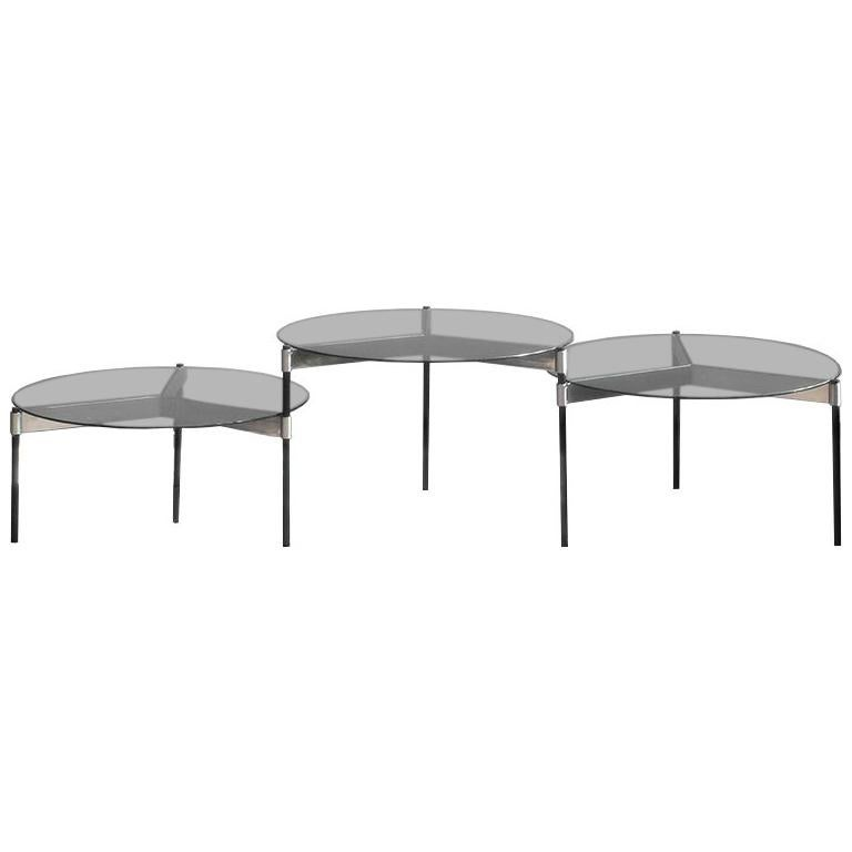 MOON Contemporary Round Coffee Table with Glass Tops and Steel Legs by Ries