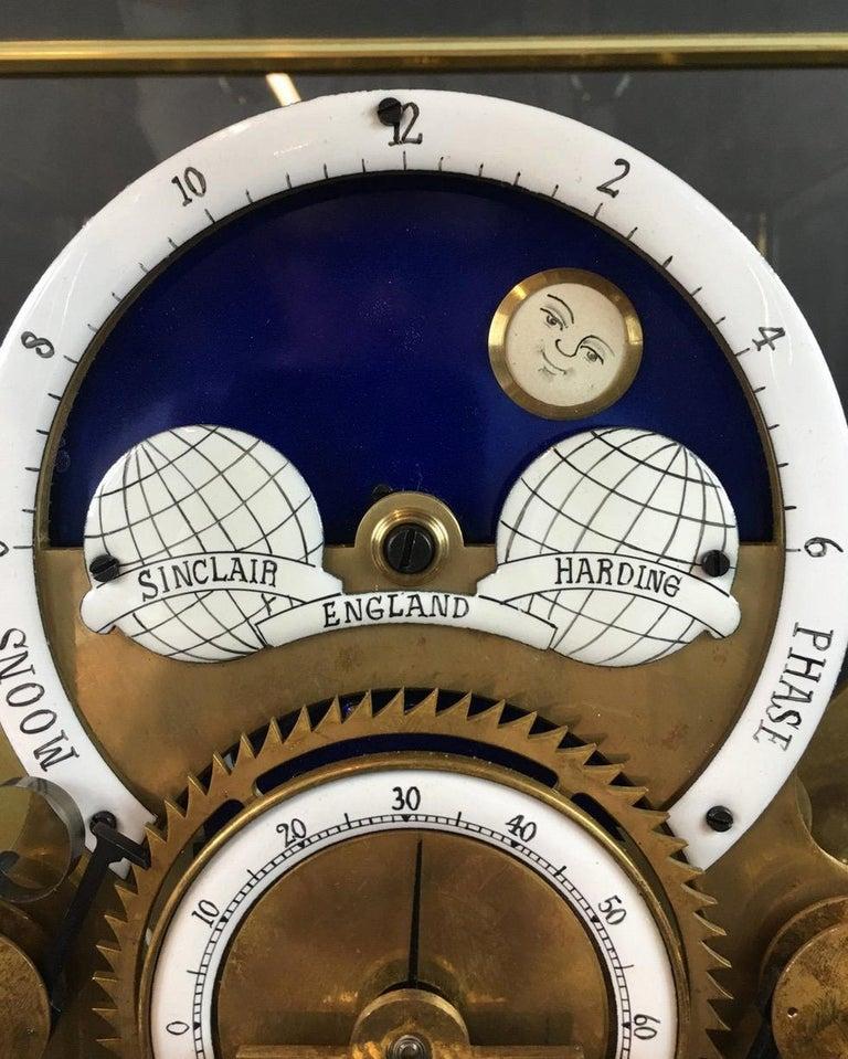 Mid-Century Modern Moon Dial Grasshopper Clock Brass Skeleton Clock, John Harrison Sinclair Harding For Sale
