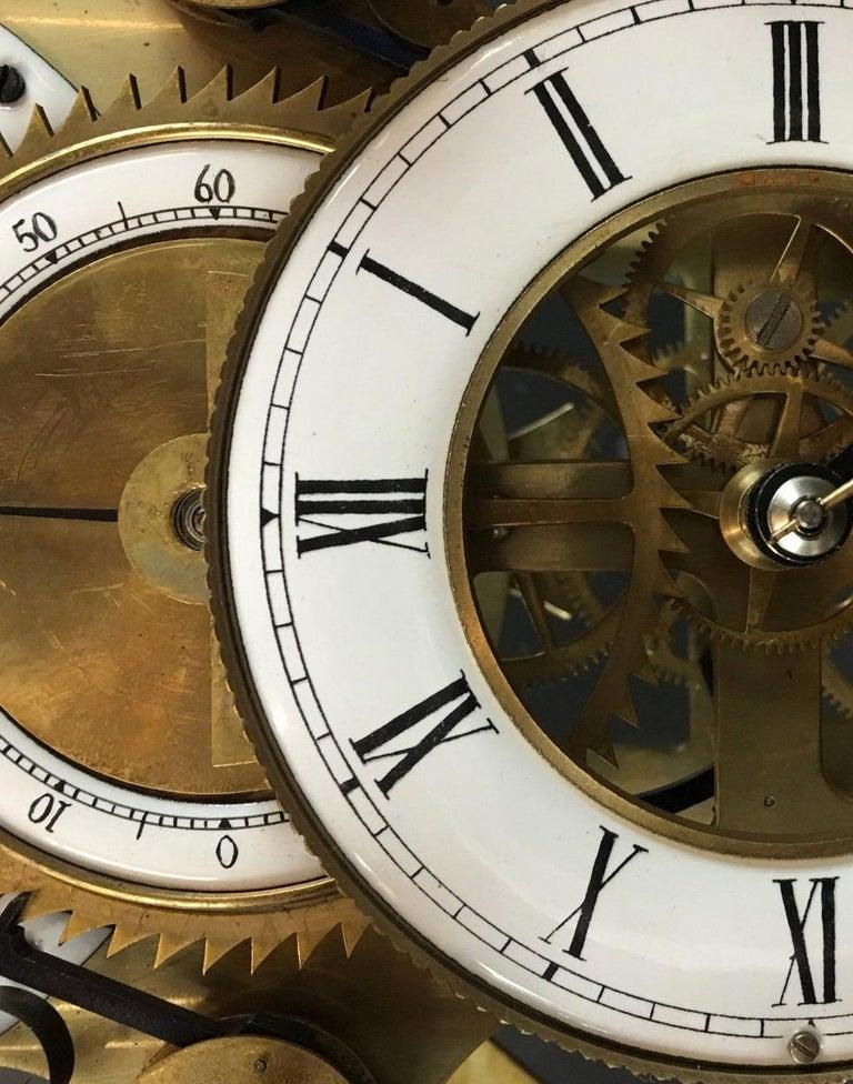 English Moon Dial Grasshopper Clock Brass Skeleton Clock, John Harrison Sinclair Harding For Sale