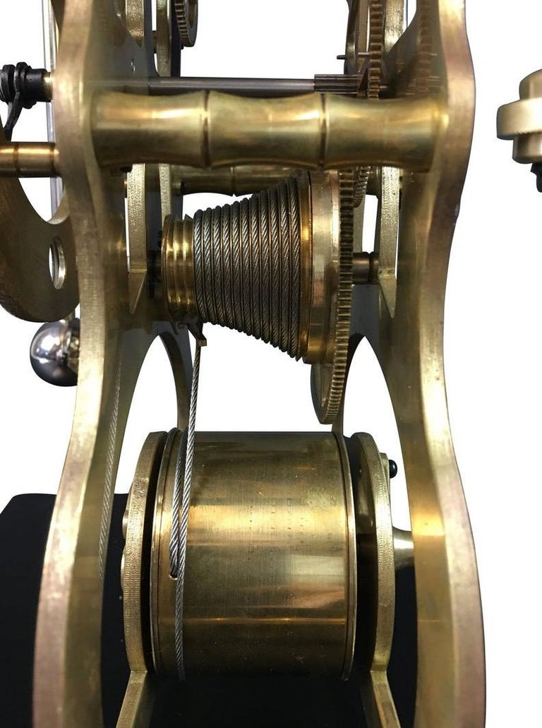 Moon Dial Grasshopper Clock Brass Skeleton Clock, John Harrison Sinclair Harding In Good Condition For Sale In Seevetal, DE