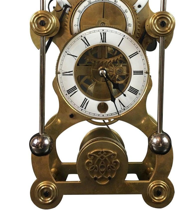 20th Century Moon Dial Grasshopper Clock Brass Skeleton Clock, John Harrison Sinclair Harding For Sale