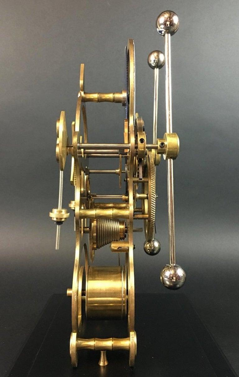Moon Dial Grasshopper Clock Brass Skeleton Clock, John Harrison Sinclair Harding For Sale 1